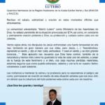 SOLIDARIDAD CON LA POBLACION CARIBEÑA ANTE EL HURACAN ETA